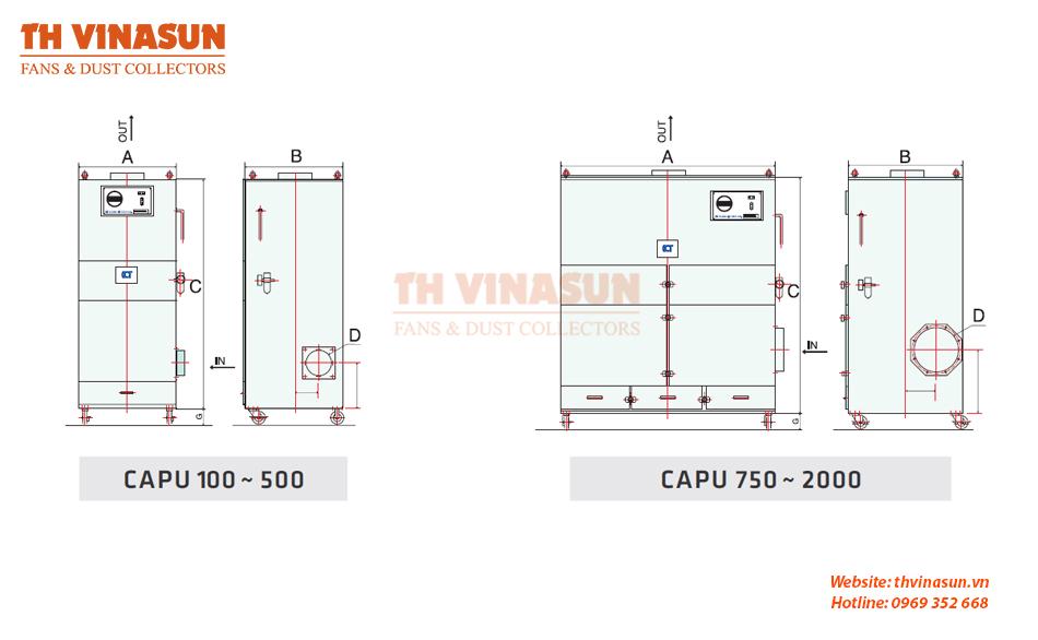 Bản vẽ kỹ thuật tủ hút bụi di động công nghiệp Cadtridge