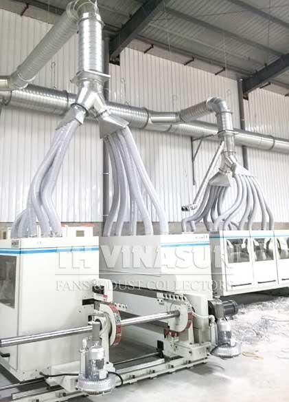lắp đặt đường ống cho hệ thống hút bụi gỗ