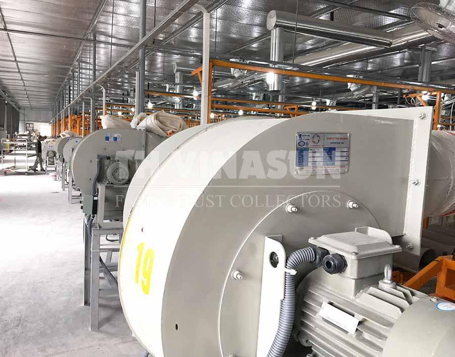 hệ thống quạt hút bụi nhà máy gạch