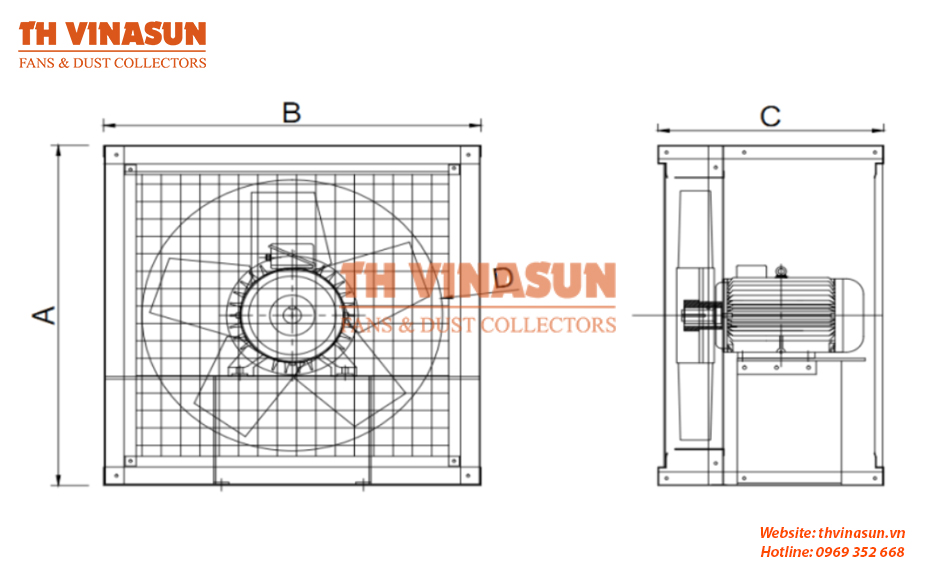 Bản vẽ kỹ thuật quạt quạt thông gió công nghiệp vuông