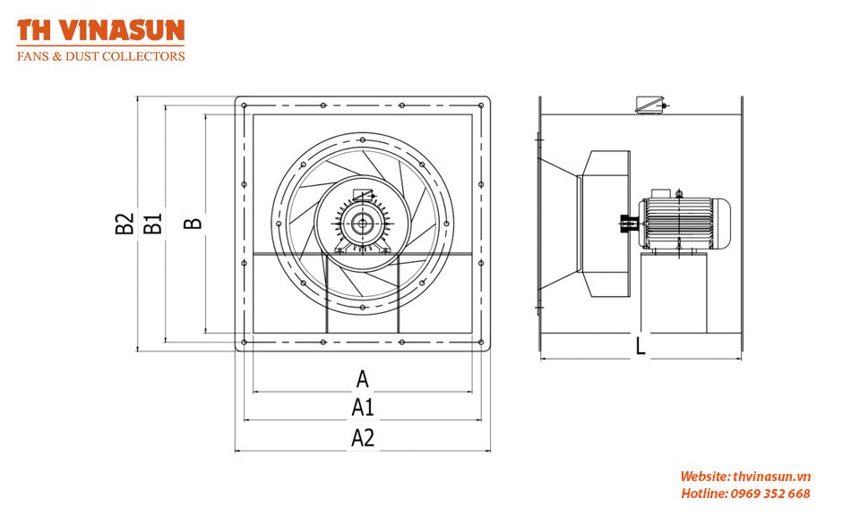 Bản vẽ kỹ thuật quạt nối ống gió VNS-VF-SI