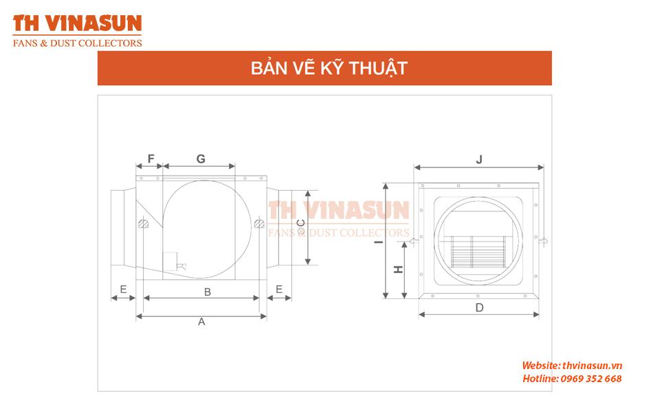 Bản vẽ kỹ thuật quạt hướng trục hộp VNS-DPT