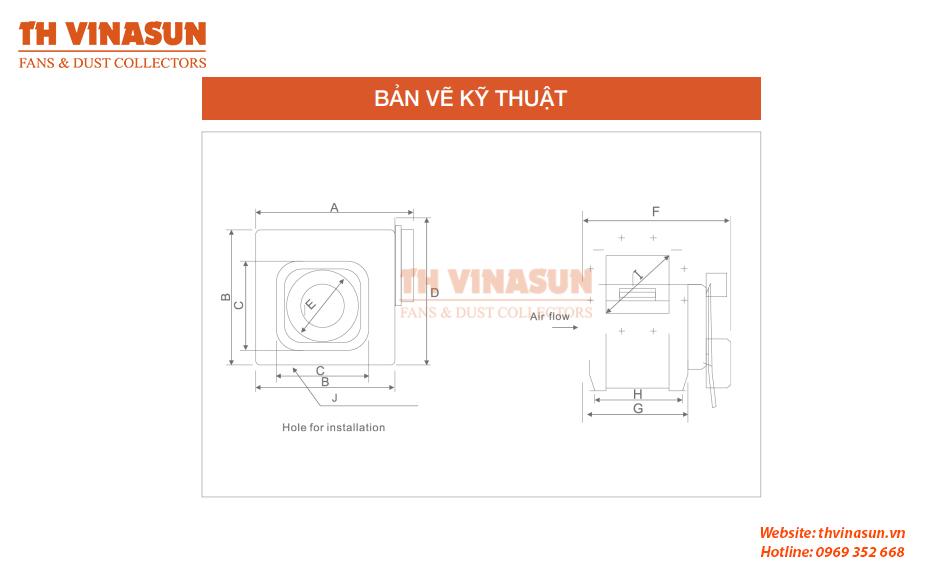Bản vẽ kỹ thuật quạt hướng trục vuông VNS-DPT